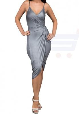 WAL G Italy Spaghetti Strap Draped Formal Dress Silver - WG 9184 - XL