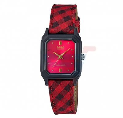 Casio LQ-142LB-4A Red Leather Watch For Women