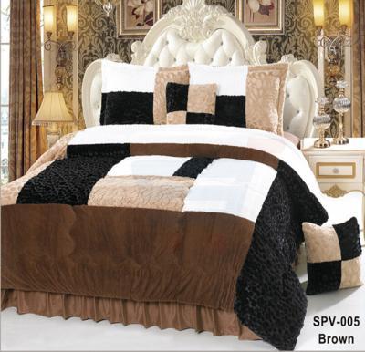 Senoures Velour Comforter 6Pcs Set King - SPV-005 Brown