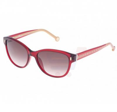 Carolina Herrera Wayfarer Red Beige Frame & Brown Gradient Mirrored Sunglasses For Women - SHE597-0954