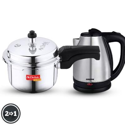 2 in 1 kitchen pack Cheftek Stainless Steel 3 Liter Pressure Cooker And Geepas 1.8 Litre Stainless Steel Electric Kettle