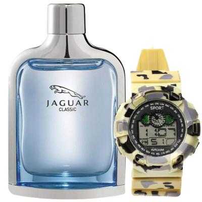 2 In 1 Jaguar Classic Blue Edt 100ml For Men And Digital Analogue Sport watch WR30M Off White,Alg005