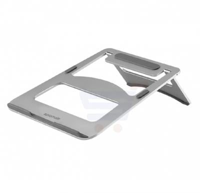 Promate Laptop Stand, Premium Ultra-Slim Portable Adjustable Aluminium Laptop Stand with Folding Holder, Anti-Slip Grip and Heat Dissipation for Apple MacBook Pro, Laptops, Notebook, DeskMate-3.Silver