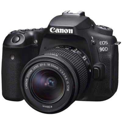 Canon 90D Digital DSLR Camera with 18-55 IS STM Lens, 32.5 MP, Black
