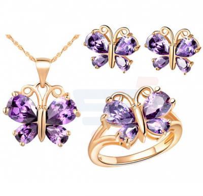 18K Rose Gold Plated Butterfly Zircon Elegant Jewelry Set For Women