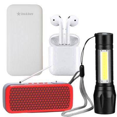 4 In 1 Lisa and Gary Portable Power Bank Dual USB 9000mAh, Musyl Wireless Mini Bluetooth Portable Speaker, USB Charging Powerful Flashlight And I12 TWS Bluetooth Earphone