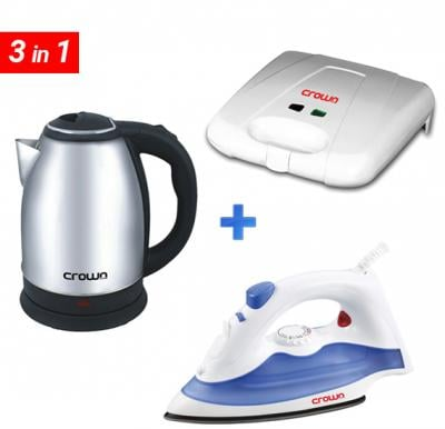 3 in 1 Bundle offer Cordless Kettle SS 1.8L + 4 Slice Sandwich Maker + Steam/Dry iron 1200W ( KT-157+CL-114+CL-119)