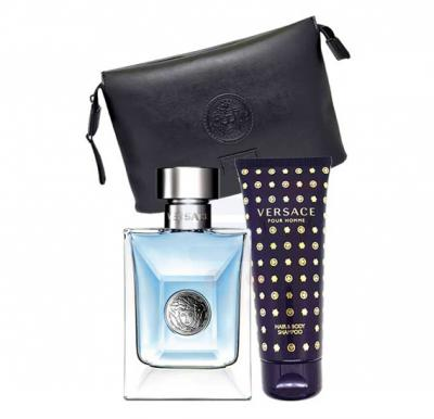 Versace Pour Homme Gift Set EDT 100ml, Hair & Body Shampoo 100ml With Black Trousse