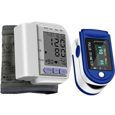 2 In 1 Elony Automatic Digital LED Monitor Display Wrist Blood Pressure Meter, CK-120S And Fingertip Pulse Oximeter Blue And White, LK87