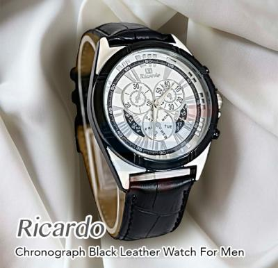Ricardo Chronograph  Black Leather With White Dial Watch For Men-RC-112