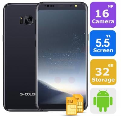 S-Color S8 Fingerprint Smart Phone, Android 6.0, 4G, 5.5 inch HD display, 3 GB RAM, 32 GB Storage, Dual Sim, Dual Camera, Wifi, Black