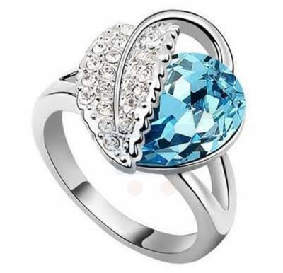 Austrian Crystal Sea Blue Leaf Clover Heart Charm Finger Ring For Women