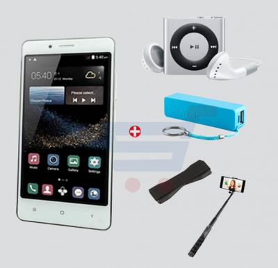 Bundle Offer! Kagoo No.1Smartphone,3G,Android5.1,4.5 Inch Display,1GB RAM,4GB Storage,Dual Camera,Dual Sim-White & Get MP3 Player+ Selfie Stick +Power Bank+Grip FREE