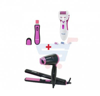 Bundle-Combo Offer Sonashi Electronic Nail Buffer SNB-001 + Sonashi Travel Hair Dryer & Straightener Set SBS-200 (Pink) + Sonashi Callous Remover (Pink)  SCR-002