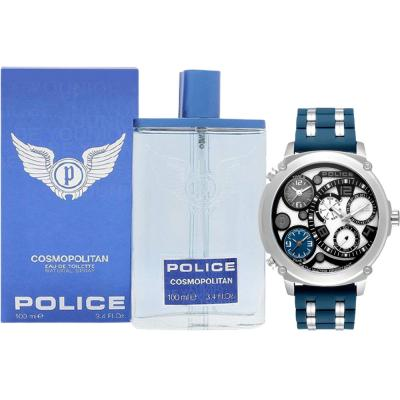 2 In 1 Police Sagano Mens watch with date and dual time, PL15659JS/04P And Police Edt Cosmopolitan 100ml Perfume