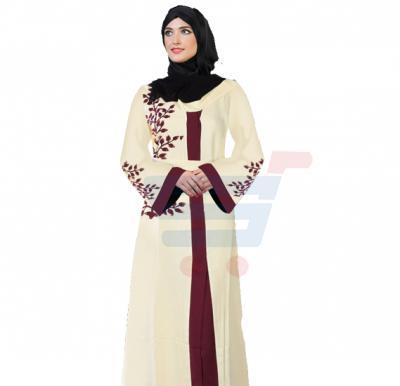 Ayishas Nida Color Cream and Maroon Dessigned Handmade Abaya, Nida Color ABY-7