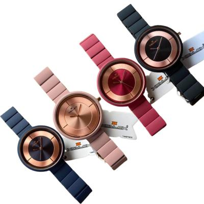 4 In 1 Xenlex Womens Stainless Steel with Rubber Analog Watch Blue, Rose, Pink and Black