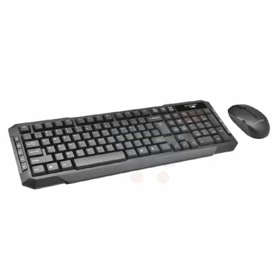 Promate Keyboard and Mouse Combo, Ergonomic Quiet Touch Key USB Wireless Keyboard with Multimedia Keys and Cordless Optical Mouse Combo Desktop for PC, Windows, Mac iOS, Laptops, KEYMATE-4.BLK/AE