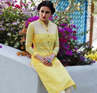 Mist Cotton Schiffli work Kurtis Yellow - L
