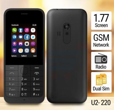 U2- 220 Mobile, 1.77 Inch Display, Dual Sim, Camera, Radio Black