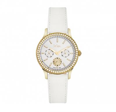 Lee Cooper Womens Multi function Gold Case White Leather Strap White Dial, LC06172.133