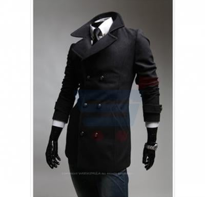 Mens High Neck Casual Coat Black (Medium) - 1655