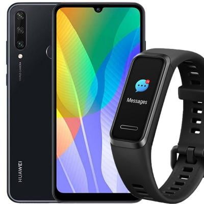 2 in 1 Combo offer Huawei Y6P Dual SIM 3GB RAM 64GB 4G LTE-Midnight Black with Huawei Band 4 Fitness Tracker Graphite, Black