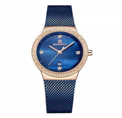 Naviforce Stainless Steel Waterproof Watch For Women, NF5005, Blue