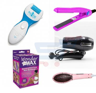 Bundle Offer Wonder Wax Microwaveable Waxing Kit, Quick And Painless Hair Removal MS-4011 get free OSP Hair Dryer , Hair Straightening Brush, OSP Mini Hair Straightener,  Cordless Callus Remover
