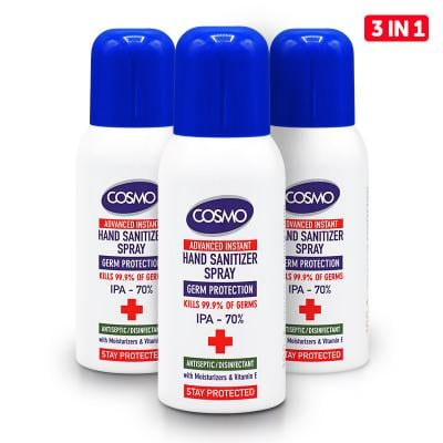 Cosmo 3 in 1 Advanced Instant Hand Sanitizer Spray, 100 ML