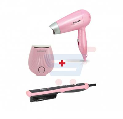 Bundle-Combo Offer Sonashi Mini Lady Shaver Pink SLD-815 + Sonashi Hair Straightening Comb SHS-2066B + Sonashi Travel Hair Dryer SHD-5001