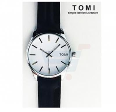 TOMI Womens Leather Band Wrist Watch T069, Black White