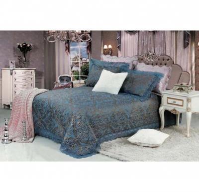 Senoures Blue Marine Jacquard Bed Spread 3Pcs Set Double - SBJ-029