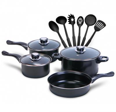 13 Pcs Kitchen Bundle 7 Pcs Non-stick Hard Cookware Set,  with 6 pcs Kitchen Tool Set