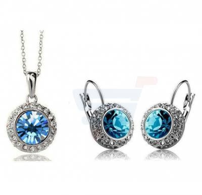 18k White Gold Plated Swarovski Rhinestone Elegant Design Drop Jewelry Set For Women