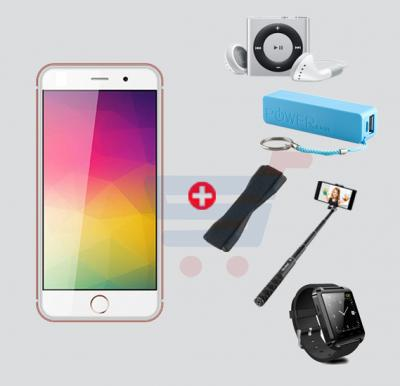 Bundle Offer! Hotwav IP6 Smartphone, 4G, Android 6.0, 3GB RAM, 32GB Storage, 4.7 inch HD Display, Dual Camera, Dual Sim, Octa Core Processor, WiFi  And Get Bluetooth Smart Watch, MP3 Player, Power Bank, Selfie Stick And Mobile Grip Free, Rose Gold