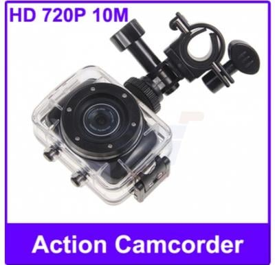 Waterproof Action Camcorder for Sports/Driving/Ride Shooting, HD 720P 10M with Accesorries