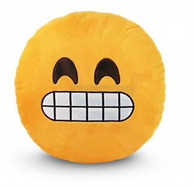 Yellow Round Cushion Pillow, Emoji Smiley
