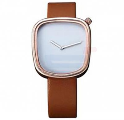 TOMI Unisex Leather Band Wrist Watch T077, Brown Gold