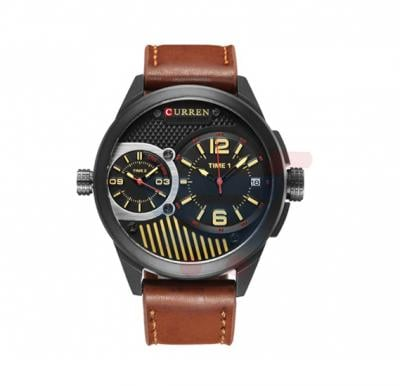 Curren Brown Leather Quartz Strap Mens Watch, -M 8249