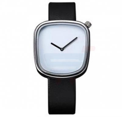 TOMI Unisex Leather Band Wrist Watch T077, Black White