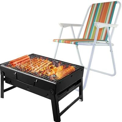 2 in 1 Camping Bundle Charcoal Grill Barbecue Portable BBQ, 07731553 With Camping Chair BC1371