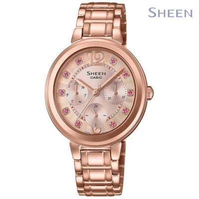 Sheen Analog Rose Gold Stainless Steel Watch For Women, SHE-3048PG-4BUDR