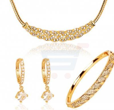 18K Yellow Gold Plated Woven Necklace Set 3 Piece For Women