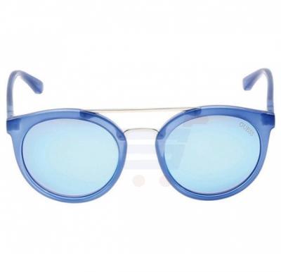 Guess Round Blue Frame & Black Mirrored Sunglasses For Woman - GU7387-90X