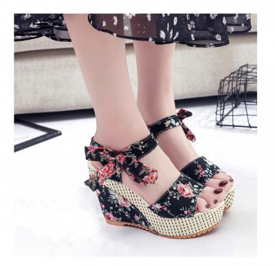 Kate Floral Wedges , Black , Size-39