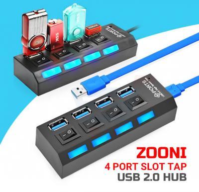 Zooni 4 Port Slot Tap USB 2.0 Hub Adapter, Splitter Power On/Off Switch LED Light