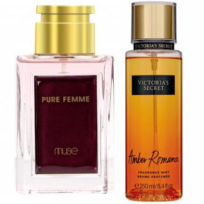 2 Piece Ladies Perfume Pack of Victoria Secret Amber Romance And La Muse 80 ML Perfume