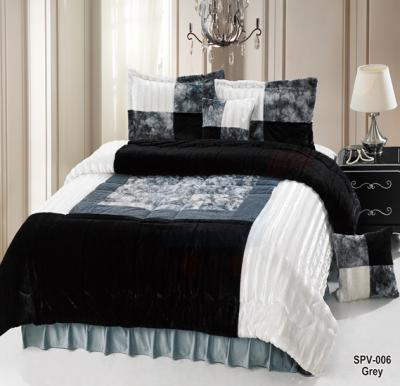 Senoures Velour Comforter 6Pcs Set King - SPV-006 Grey