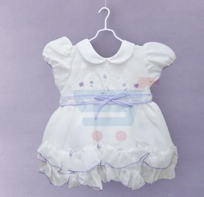 Kids Frock Party Wear White with Purple - Size 17